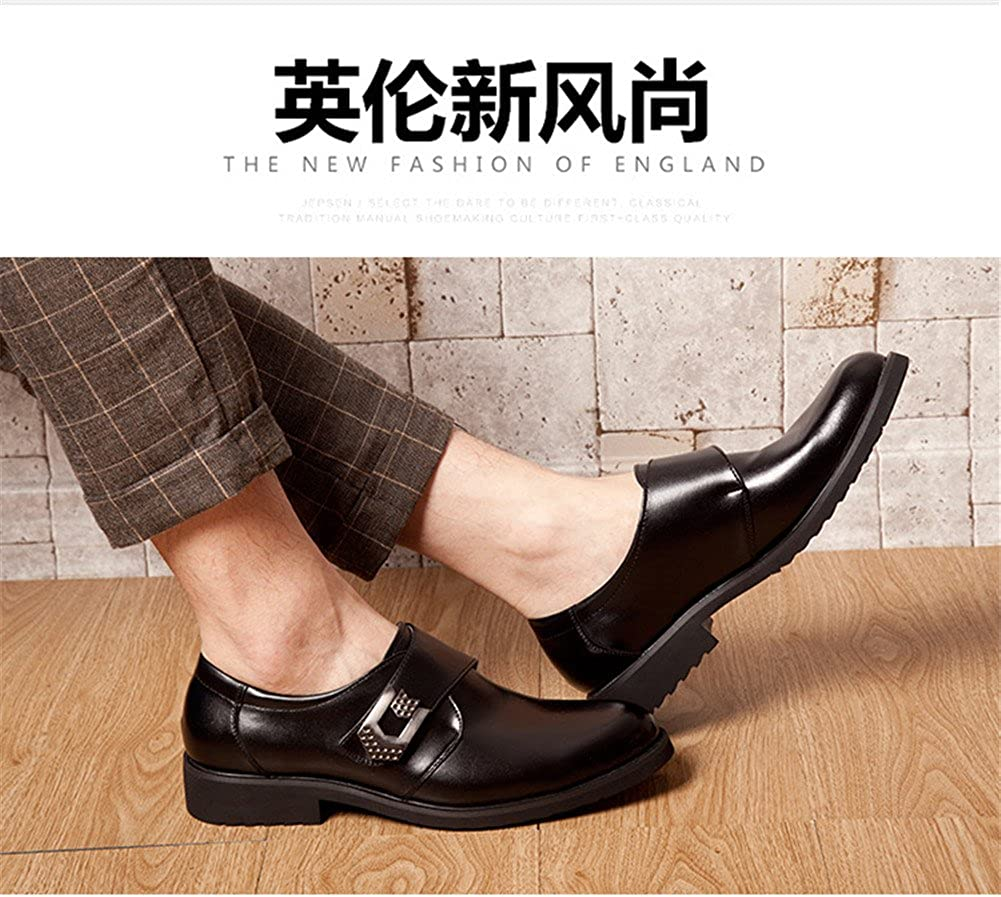 2017 Mens Casual Business Solid Color Shoes Round Head Flat Bottom Side with