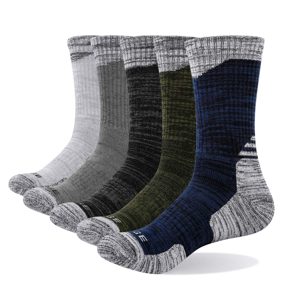 YUEDGE Men's Cotton Cushion Crew Socks Performance Athletic Hiking Socks (5 Pairs/Pack XL) by YUEDGE