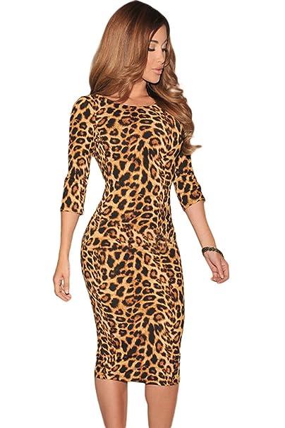 bda8c80d5 COSIVIA Mujer Vestido Estampado de Leopardo sin Espalda Baja V Atrás 3 4  Parte Midi