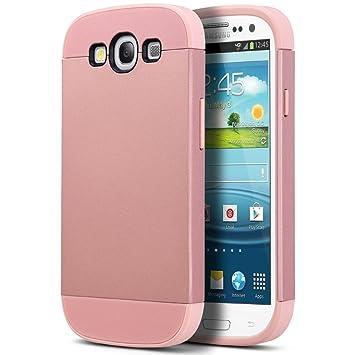 ULAK Carcasa S3, Galaxy S3 Funda Case Dura para Samsung Galaxy S3 Anti Golpes de Silicona con Protector de Pantalla (Oro Rosa)