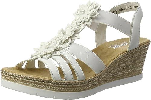 Rieker Damen 61949 Offene Sandalen mit Keilabsatz