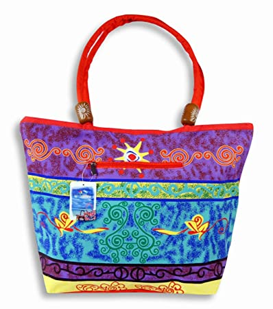 6143dbf3ab Waterproof Purple Blue Design on front side and Solid red on flip side  Canvas Beach Bag Zipper Closure with.