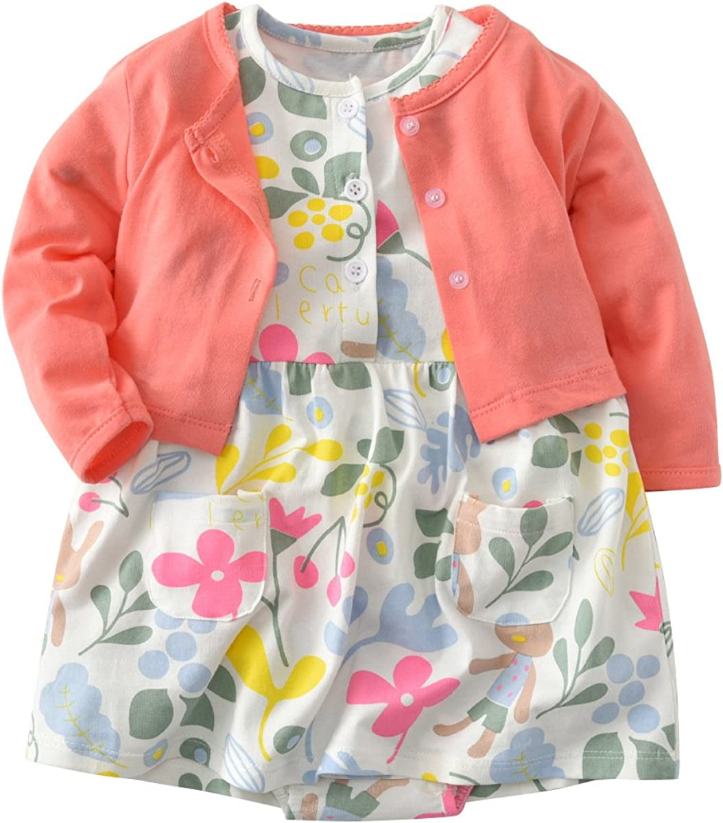 Baby Girl Long Sleeve Coat Short Sleeve Floral Romper Dress Skirt Casual Toddler Baby Girl Clothes Set Outfit