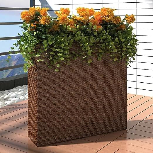 WEILANDEAL Jardin Maceta Jardinera De Ratan Rectangulo Set de 1 Pieza Marron maceteros Exterior jardinLa Entrega Incluye 1 Jardinera de Ratan con 4 contenedores de Zinc: Amazon.es: Jardín