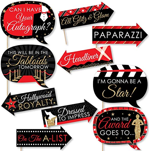 12 Hollywood Theme Black Gold Cut-out Signs Birthday Party Prom Wall Decorations