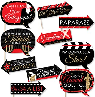 product image for Big Dot of Happiness Funny Red Carpet Hollywood - Movie Night Party Photo Booth Props Kit - 10 Piece
