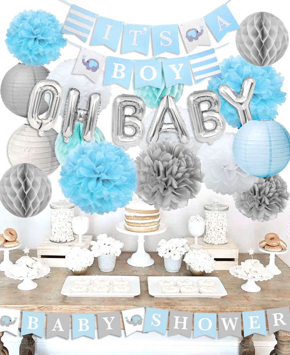 Boy Baby Shower Decorations - It's A Boy Baby Shower Decorations Kit with Oh Baby Balloons It's A Boy Baby Shower Banner KREATWOW