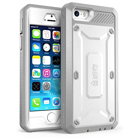 buy online 94eba d4638 iPhone SE Case, SUPCASE Full-Body Rugged Holster Case with Built-in Screen  Protector for Apple iPhone SE (2016 Release/Compatible with iPhone 5S/5),  ...