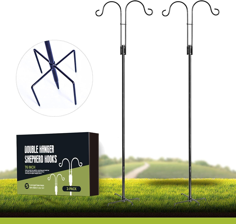 XDW-GIFTS Double-Shepherd-Hooks for Bird-Feeder Lantern Plant-Hook Garden-Stake - 76 Inch 2 Pack Plant Stand Hanger for Outdoor Flower Basket Bird Feeder Hanger Weddings Décor