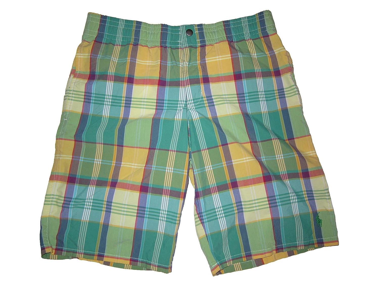 RALPH LAUREN Polo Mens Swimwear Plaid Check Swim Trunks Green