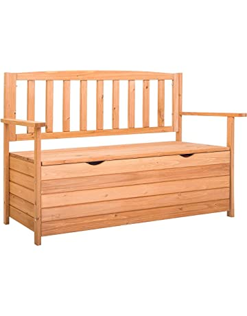 Charmant Outdoor Patio Wooden Storage Bench With Natural Finish Fir Wood Bench    Porch Backyard Garden Deck