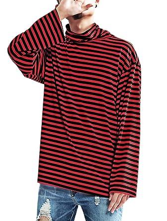 180283831fe71 Men s Striped Hipster Hip Hop Basic Turtleneck Long Sleeve T-Shirt Top (X-