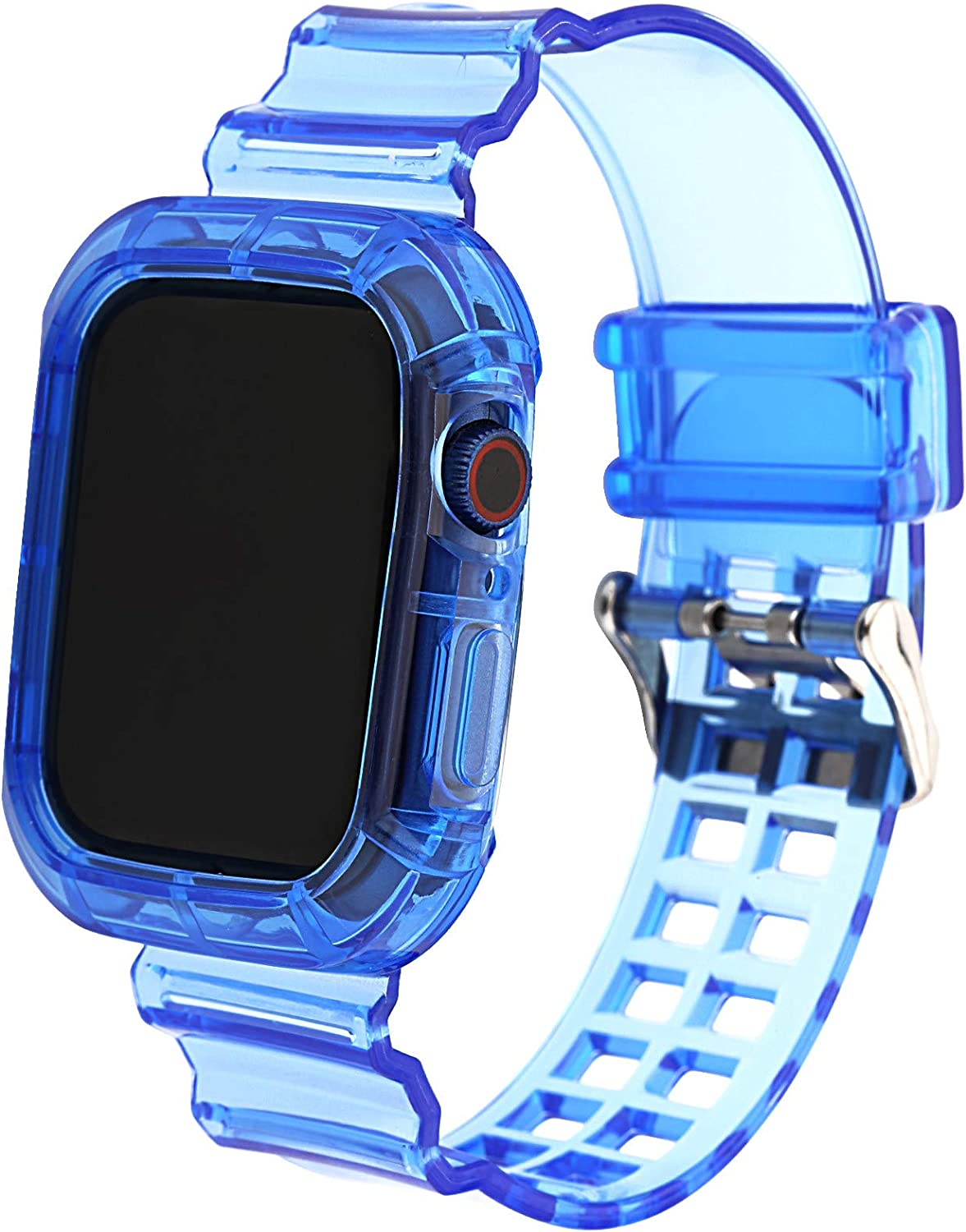 Greaciary Compatible for Apple Watch Bands Case 38mm/40mm/42mm/44mm for Men & Women, Crystal Transparent Bumper Sports Wristband Bangle Strap iWatch Series 5 4 3 2 1 (Blue, 42mm/44mm)
