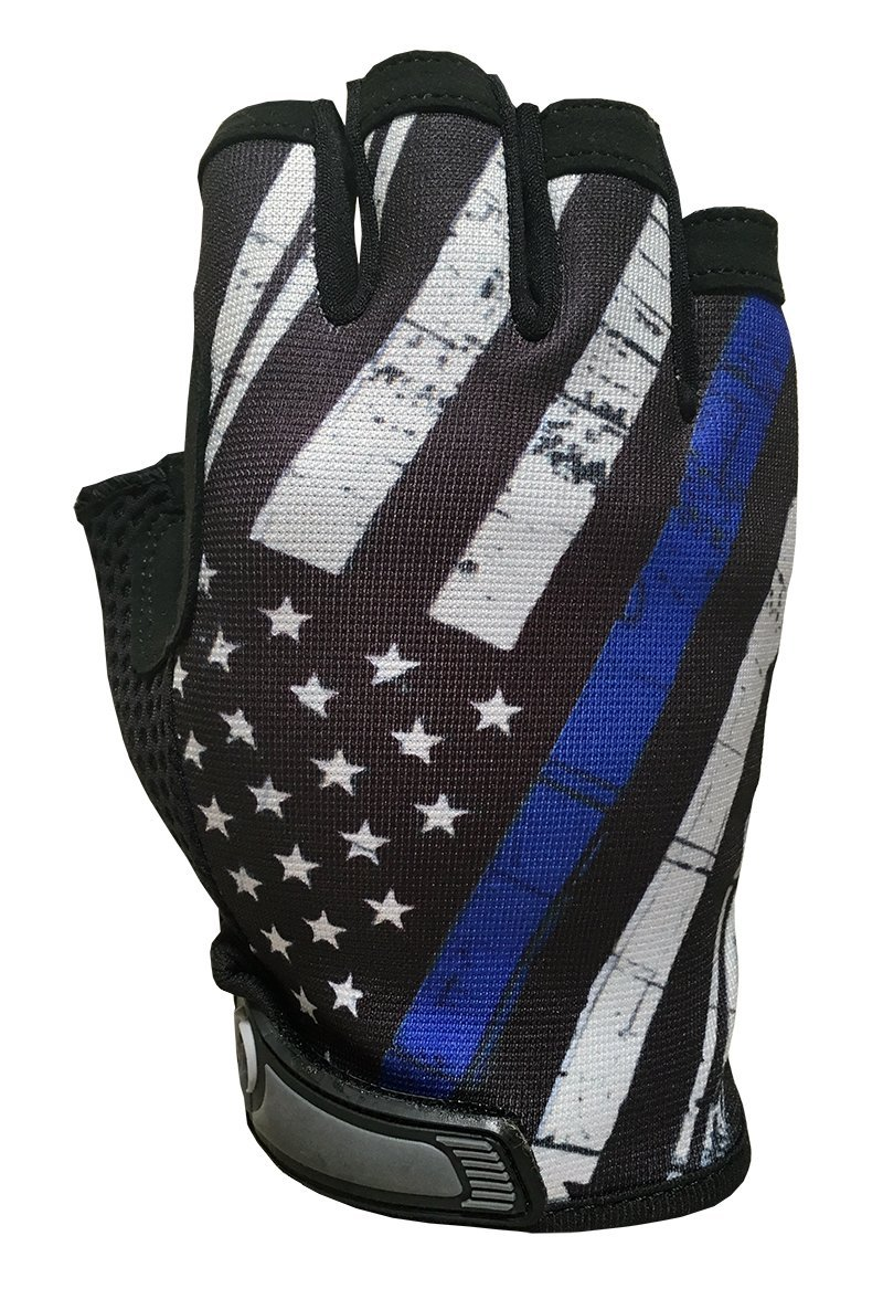 Blue Line USA Flag HALF Finger Gloves for Gym, Athletic, and Multi-Use - Support Police & Law Enforcement Officers by Industrious Handwear