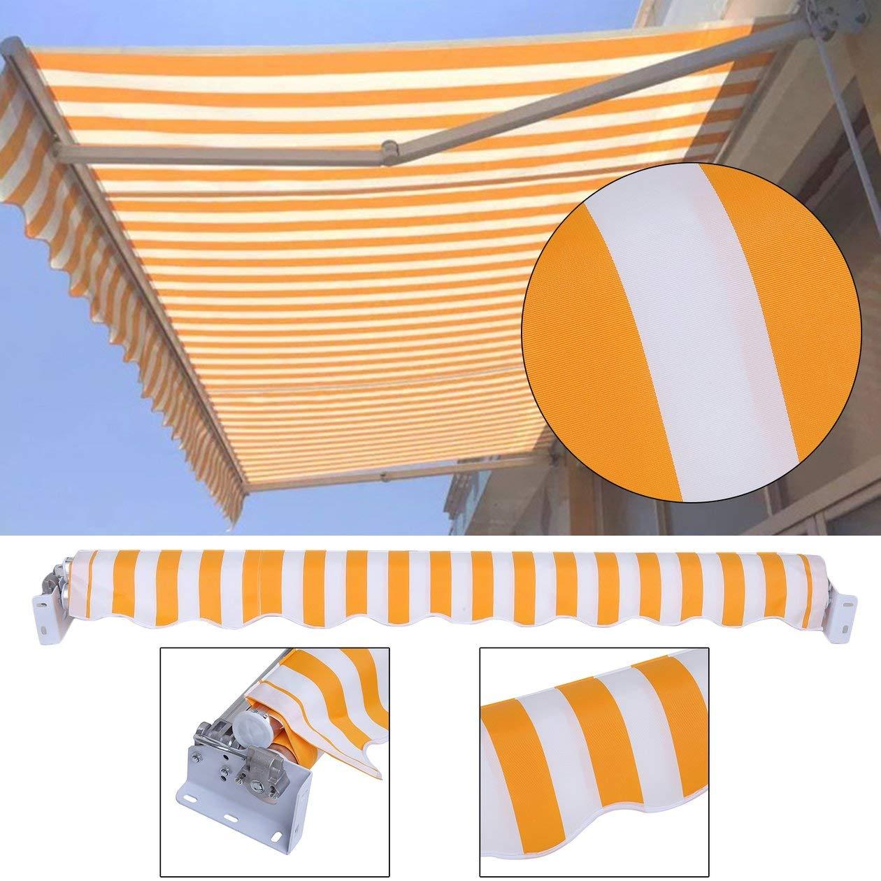 Auvent escamotable de soleil dauvent de patio dauvent de 2x1.5M Sun avec les rayures orange//rouges de bras articul/é dalliage daluminium