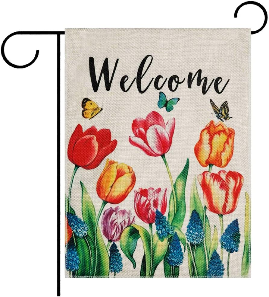 DOLOPL Summer Welcome Garden Flag 12.5x18 Inch Double Sided Decorative Tulips Butterfly Small Yard Garden Flags for Outside Summer Outdoor Decorations