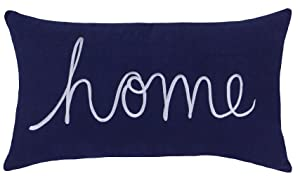 "DecorHouzz Home Sentiment Pillow Cover Embroidered Pillow Cases Throw Pillow Decorative Pillow Wedding Birthday Anniversary Gift 14""x24"" (Navy)"
