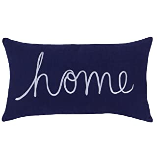 """EURASIA DECOR Home Sentiment Embroidered Decorative Lumbar Accent Throw Pillow Cover for Bedroom Couch Housewarming Porch Sofa 14""""x24"""" (Navy)"""