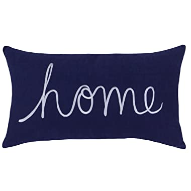 DecorHouzz Home Sentiment Pillow Cover Embroidered Pillow Cases Throw Pillow Decorative Pillow Wedding Birthday Anniversary Gift 14 x24  (Navy)
