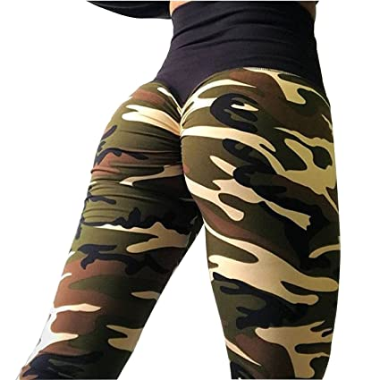 940f1e4ee3846 W. DRIZZLE Women's High Waist Ruched Butt Lift Yoga Pants Camouflage  Stretchy Skinny Workout Gym