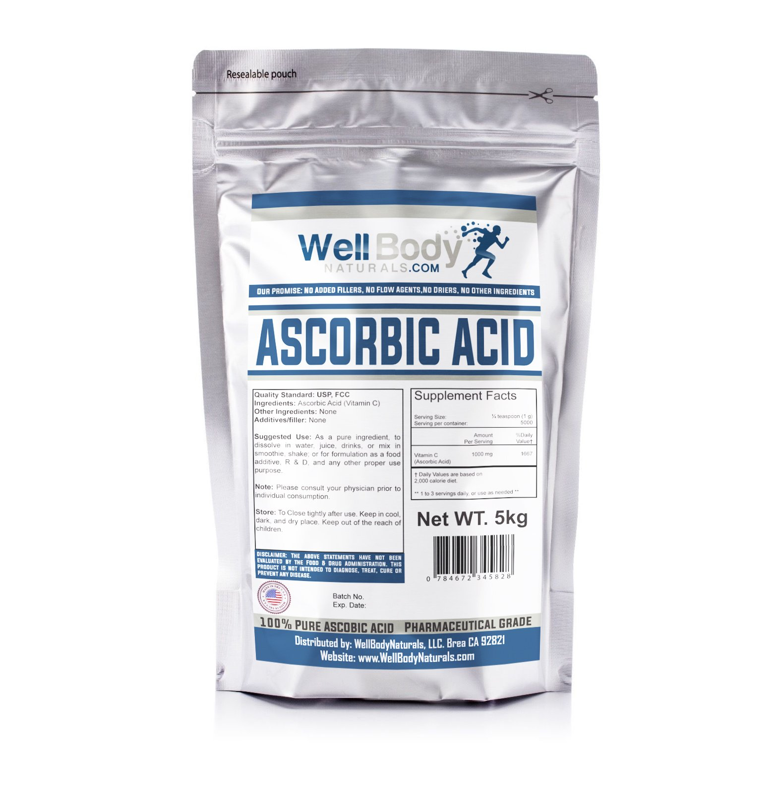 WellBodyNaturals Pure Ascorbic Acid (Vitamin C) Powder (5000 grams)