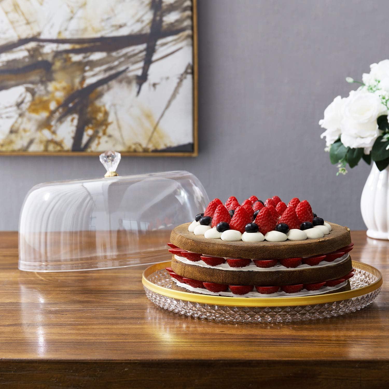 12 Inch Clear Food-Grade Acrylic Diamond Pattern Server Cake Dessert Platter with Cloche Bell Cover Brass Rim