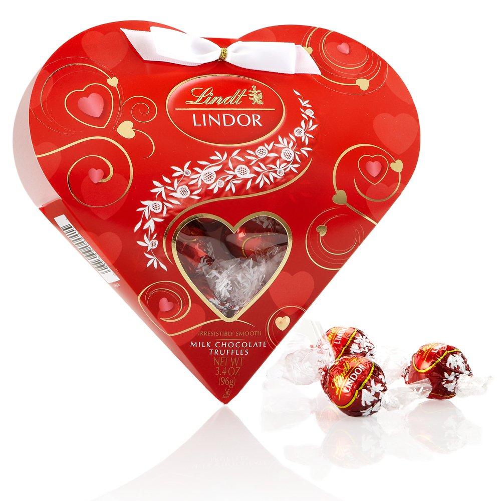 LINDOR Valentine Milk Chocolate Truffles Mini Gift Heart, 3.4oz ...
