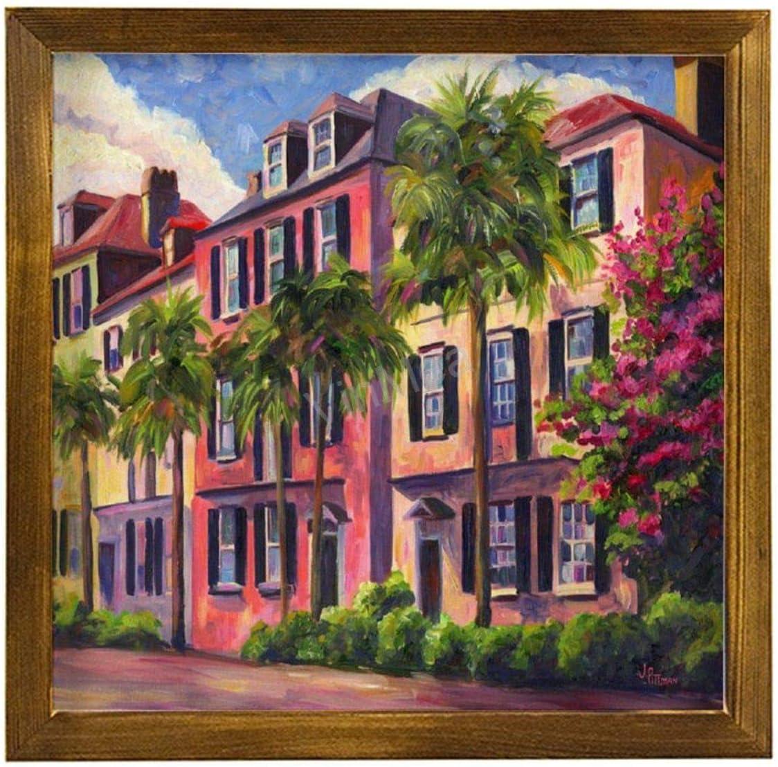 "VinMea Home Decor Wood Sign Rainbow-Row-Charleston-Sc-Jeff-Pittman Framed Wood Sign,Rustic Wall Art Sign Wall Hanging Home Decor Wall Art 12""X12"""