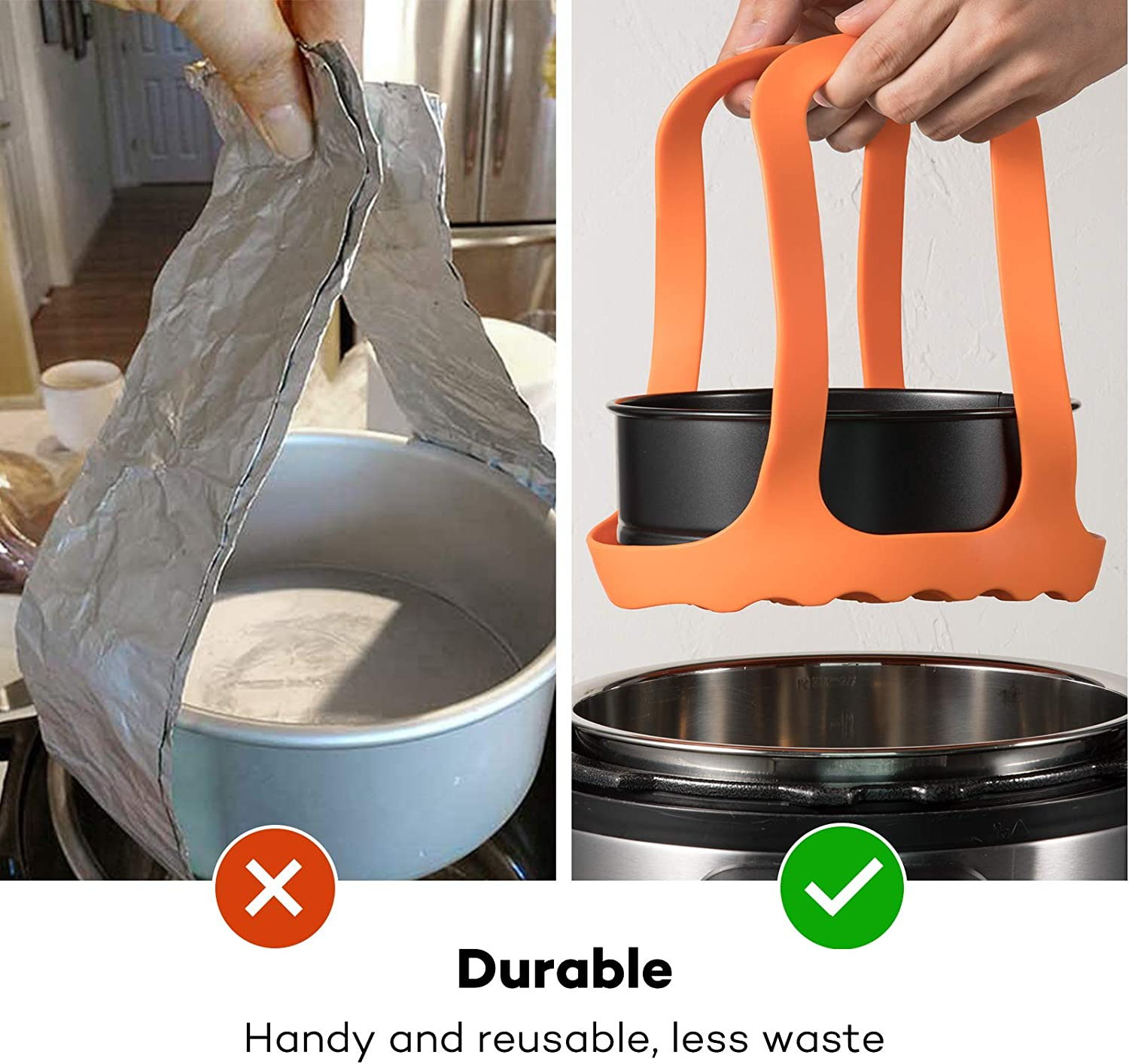 Ninja Foodi 6.5 Qt 8 Qt and Other Brand Pressure Cookers Goldlion Silicone Sling Lifter Accessories Compatible with Instant Pot 6 Qt and 8 Qt Organge