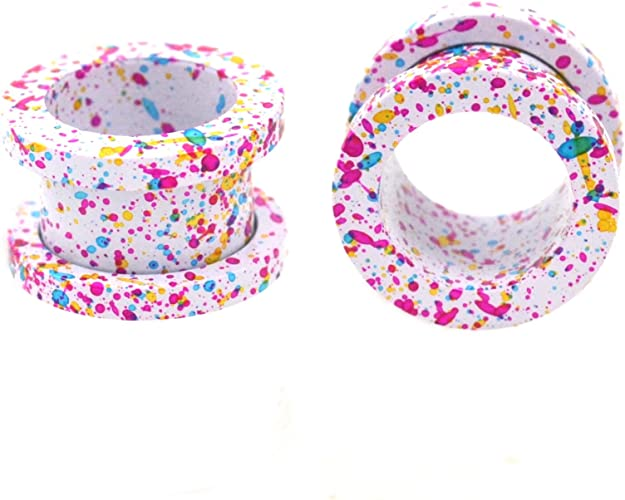 PAIR-Flexi Thin Seagreen Double Flare Silicone Ear Tunnels 10mm//00 Gauge Body