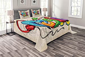 Ambesonne Music Bedspread, Illustration of Graffiti Style Lettering Headphones Hip Hop Theme on Beige Bricks, Decorative Quilted 3 Piece Coverlet Set with 2 Pillow Shams, Queen Size, Tan Green