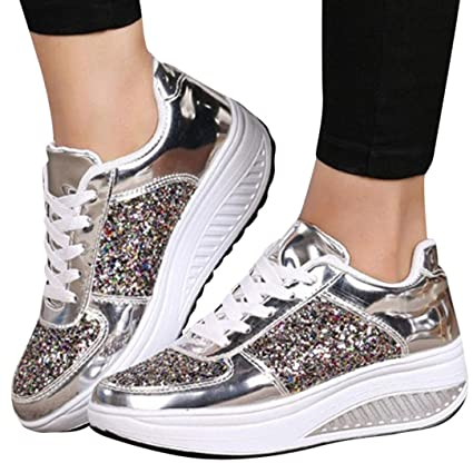 e2b4f823d8a09 Clearance! Women Sneakers, Neartime 2018 Fashion Ladies Wedges Casual  Sneakers Sequins Lace-Up Shoes Girls Sport Shoes (US:6.5, Silver)