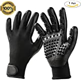 U-MISS Pet Grooming Gloves, Pet Hair Removal Gentle Deshedding Brush Massage Tool with Adjustable Wrist Strap for Long and Short Hair Dogs, Cats, Horse -1 Pair