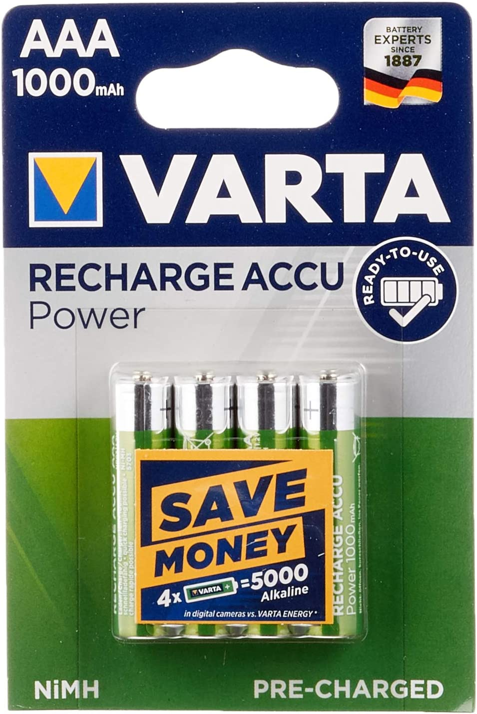 Varta 43471 Ready To Use Aaa Hr03 1000 Mah Pack Of 4 Elektronik