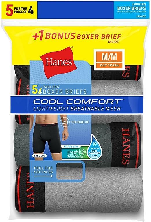 New Men/'s Hanes Bonus Pack 4 X-Temp Mesh Boxer Briefs Size M 32-34 Fresh IQ