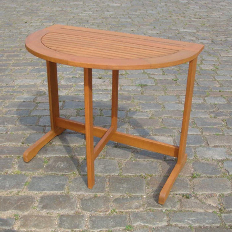 Gartentisch Porto halbrund, 90x60 cm, Eukalyptus Hartholz, FSC®-Zertifiziert