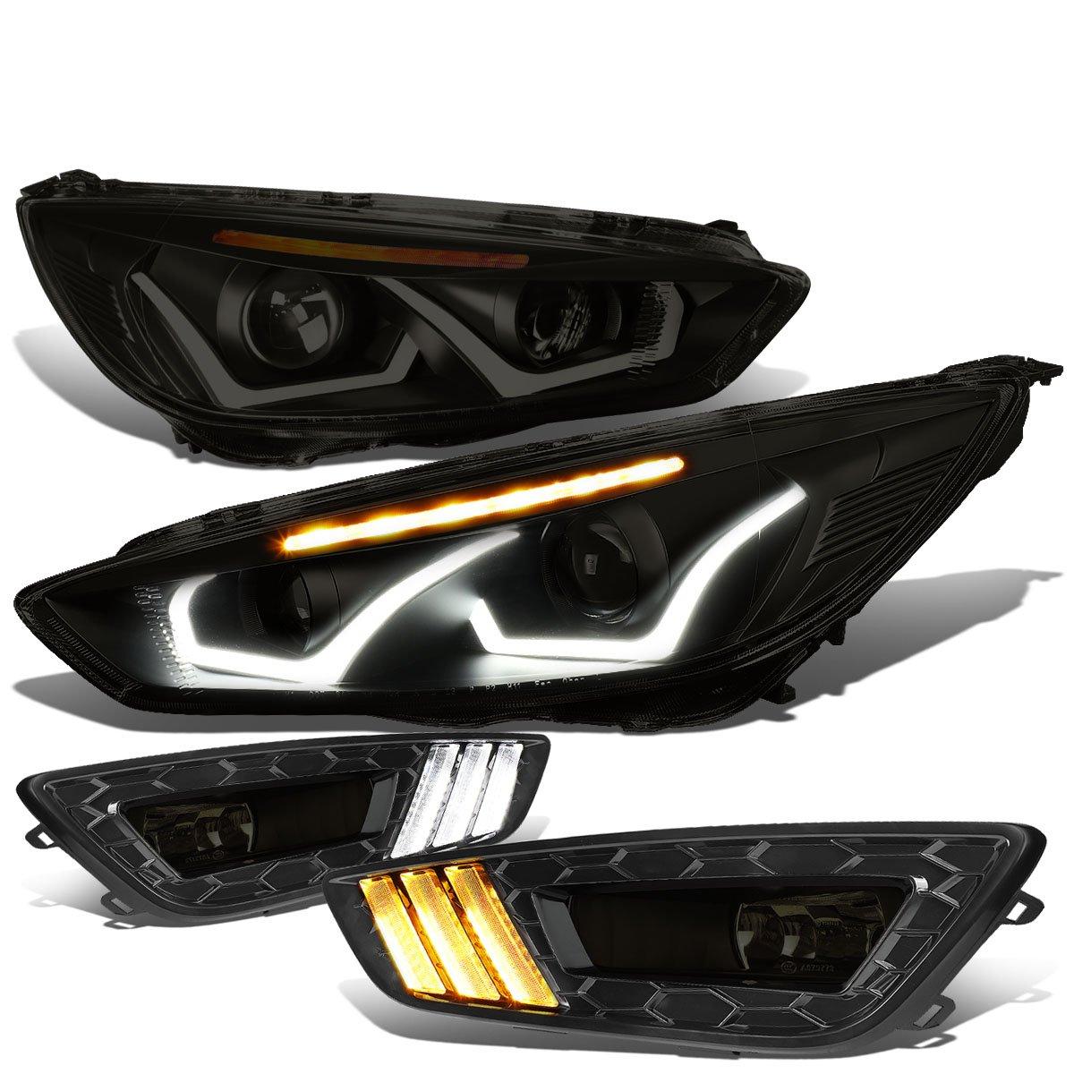 For Ford Focus Dual U Halo Drl Led Turn Signal Black Wiring Projector Headlight Amber Bezel Smoked Len Fog Light Automotive