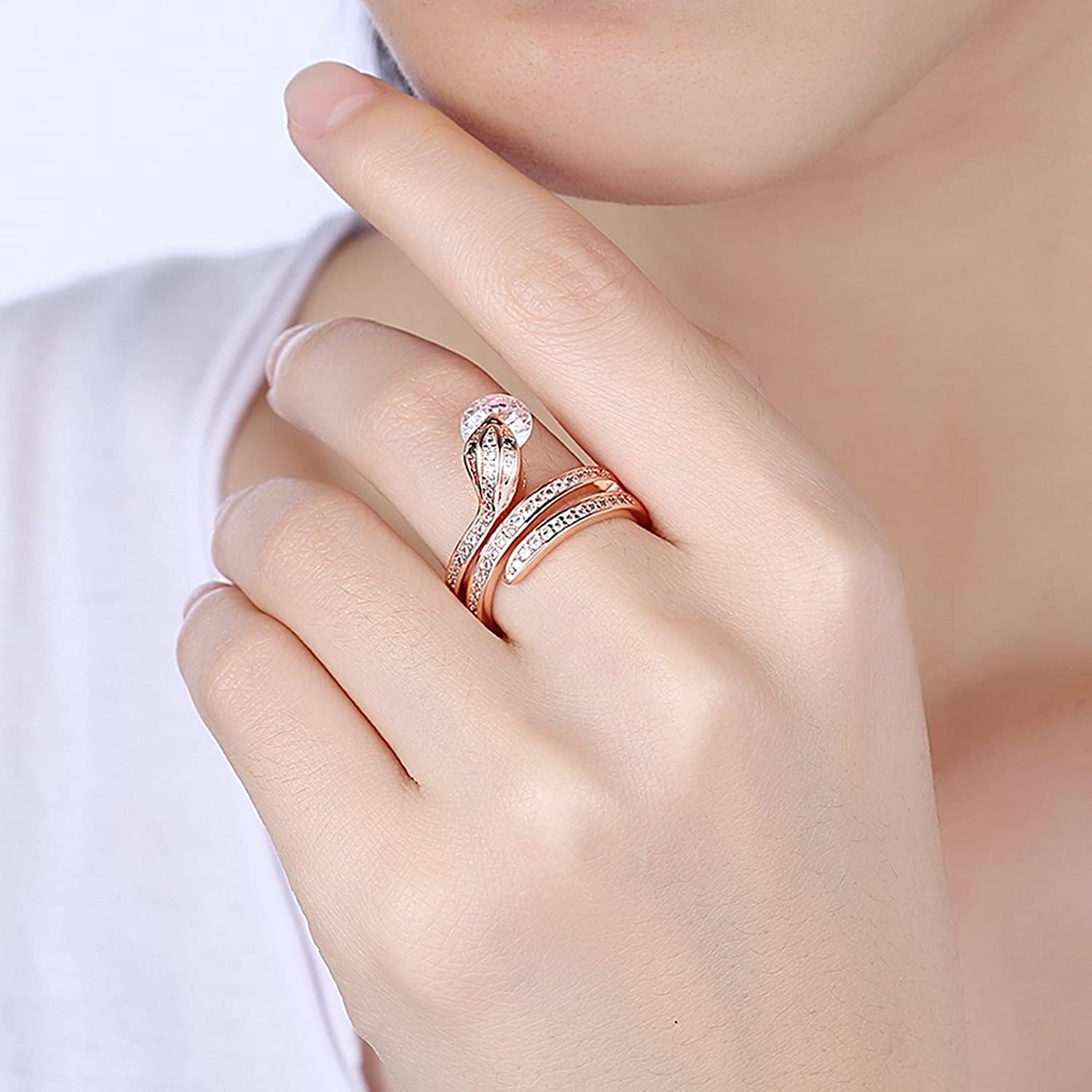Amazon.com: Adisaer Womens Rose Gold Plated Rings Green Snake Round ...