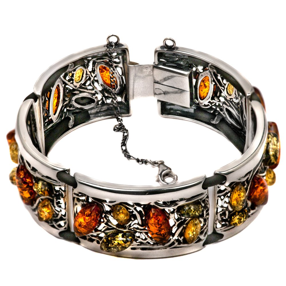 Sterling Silver Multicolor Amber Antique Look Link Bracelet 7 Inches