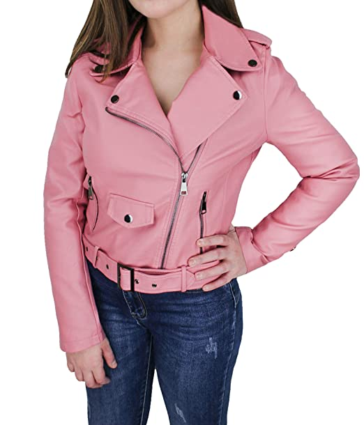 online retailer b04f6 1be4c Evoga Giubbotto Giacca chiodo Donna Rosa Casual in Ecopelle ...