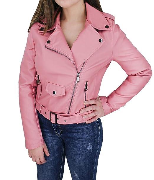 online retailer 342c2 439d9 Evoga Giubbotto Giacca chiodo Donna Rosa Casual in Ecopelle ...