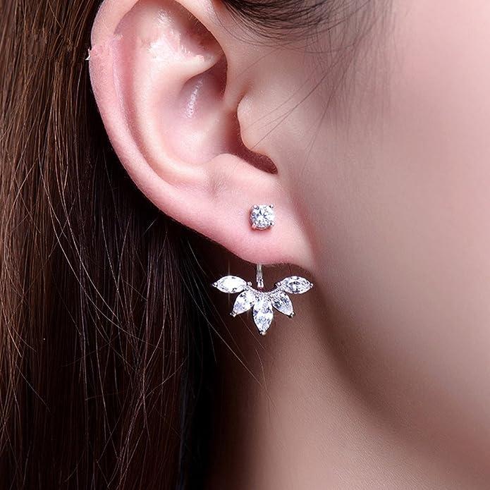 a9d266f1e7c 2016 New Zircon Crystal 3 Colors Rose Gold Ear Cuff Clip Leaf Stud ...