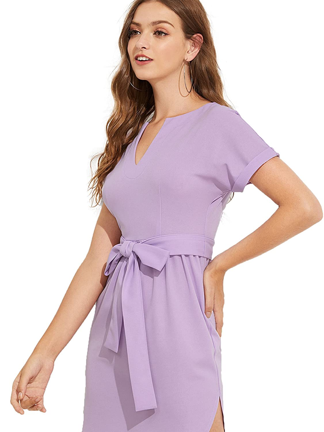7e2b7e73ff9 Romwe Women s Casual V-Neck Roll up Short Sleeve Belted Sheath Dress at  Amazon Women s Clothing store