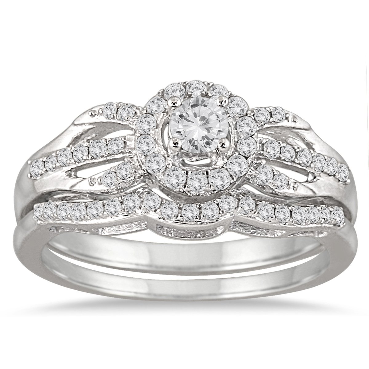 AGS Certified 1/2 Carat TW Diamond Bridal Set in 10K White Gold (K-L Color, I2-I3 Clarity)