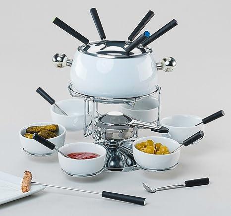 Set de fondue 22tlg. Cazo de fondue 6 cuchara Grabadora Hornillo 6 tenedores de fondue