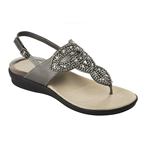 Sandalo Donna Metallo Dr Con Perline Scholl Marillie Gelactiv Lq34A5Rj