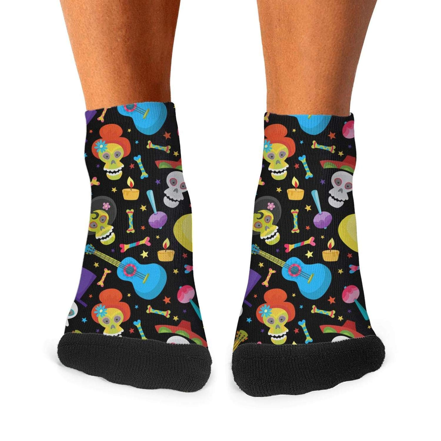 Floowyerion Mens colorful skull for day of the dead Novelty Sports Socks Crazy Funny Crew Tube Socks