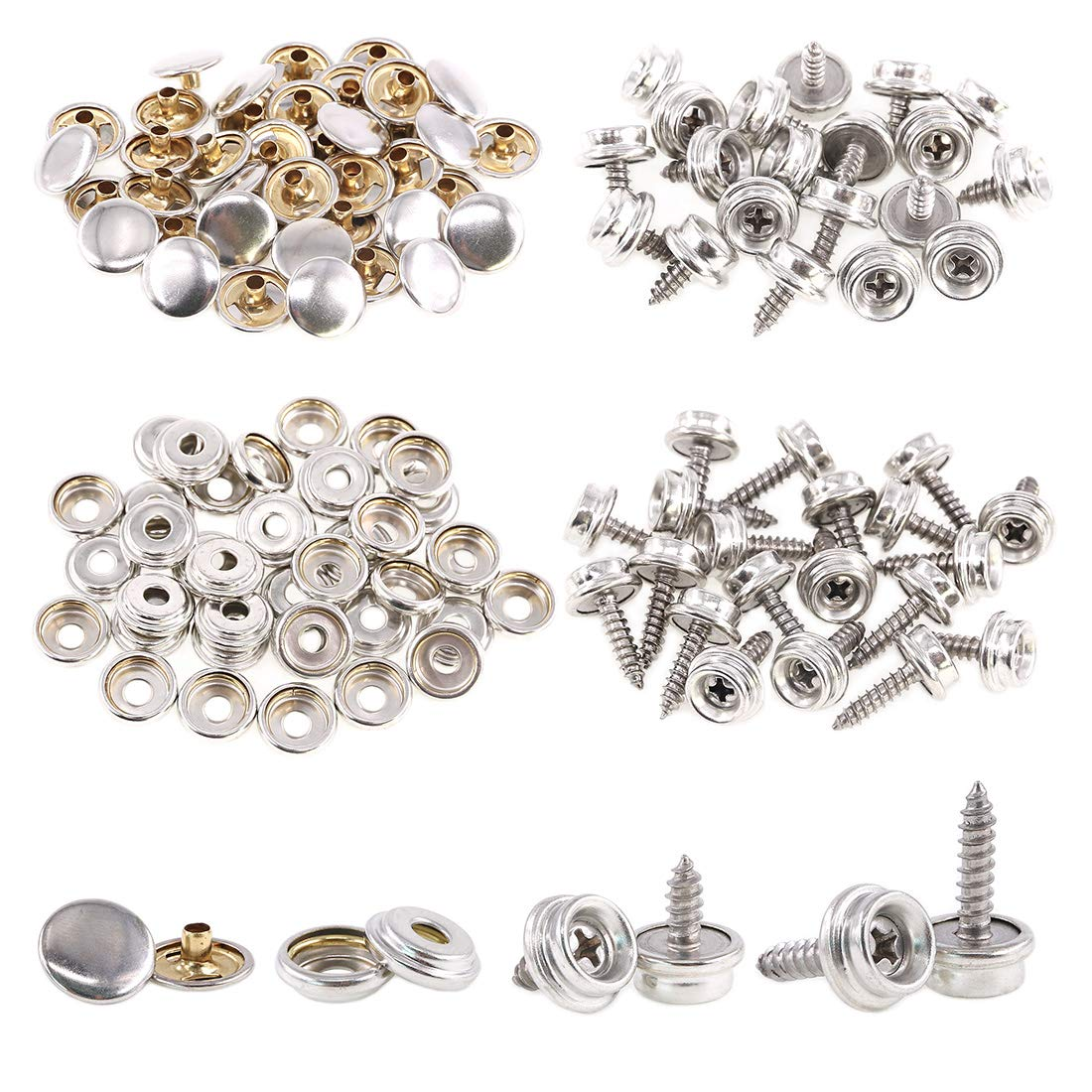 Rustark 120-Pcs Sliver Fastener Screw Snaps Boat Canvas Cover Snap Button Cap Marine Grade 3//8 Socket with Stainless Steel Screw with Snap Setting Tool Kit for Furniture Canvas Fabric Boats