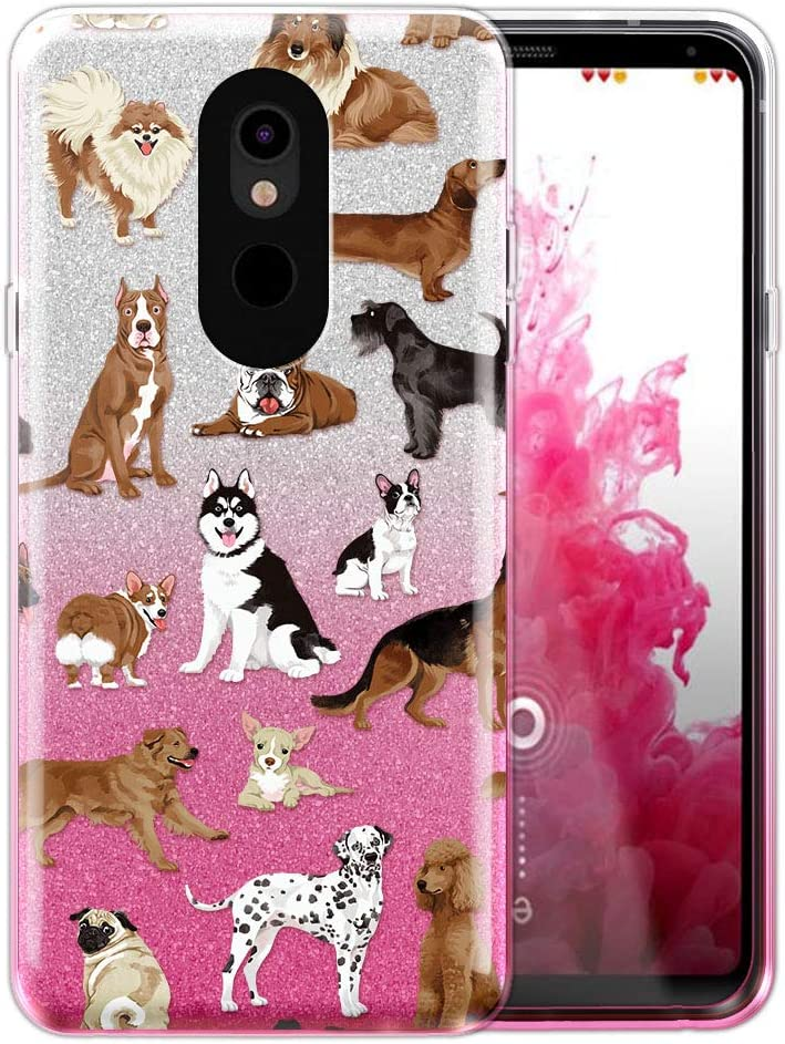 FINCIBO Case Compatible with LG Stylo 5, Shiny Sparkling Silver Pink Gradient 2 Tone Glitter TPU Protector Cover Case for LG Stylo 5 - Dog Breeds