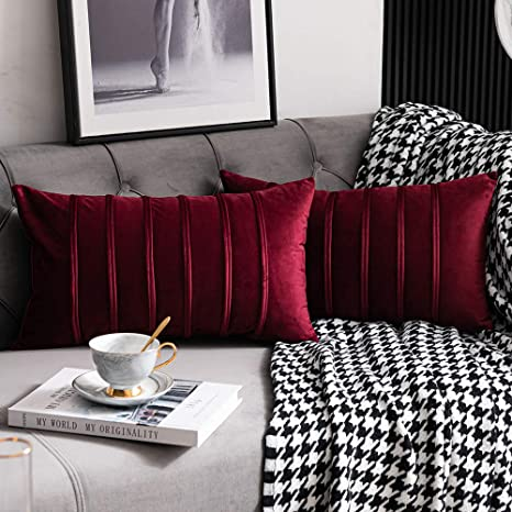 Amazon Com Dezene Burgundy Red Throw Pillow Covers 2 Pack 12x20 Inch Cozy Soft Striped Velvet Rectangular Decorative Pillow Cases For Couch Home Kitchen